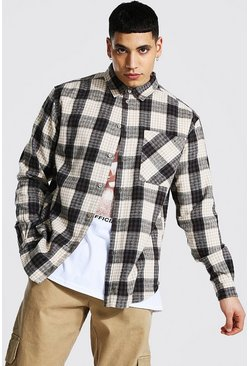 Oversized Check Shirt, Oatmeal beige