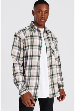 Oversized Check Shirt, Ecru weiß