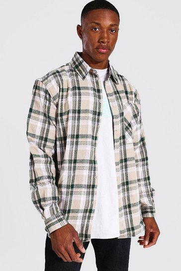 Ecru white Oversized Check Shirt