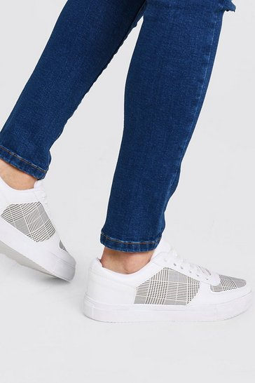 White Checkerboard Emboss Trainer
