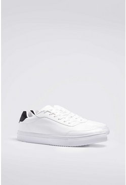 White Lace Up Heel Tab Trainer