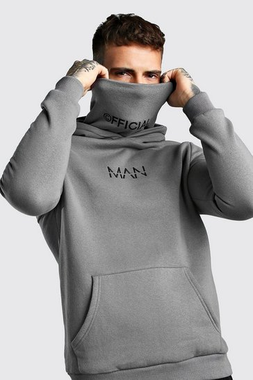Charcoal grey MAN Official Jersey Hoodie With Snood