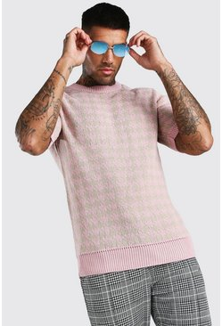 Regular-Fit Strick-T-Shirt mit Hahnentrittmuster, Altrosa rosa