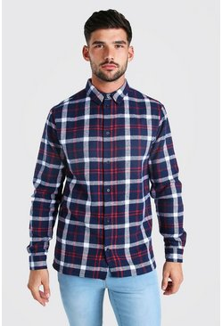 Grey Long Sleeve Brushed Check Shirt