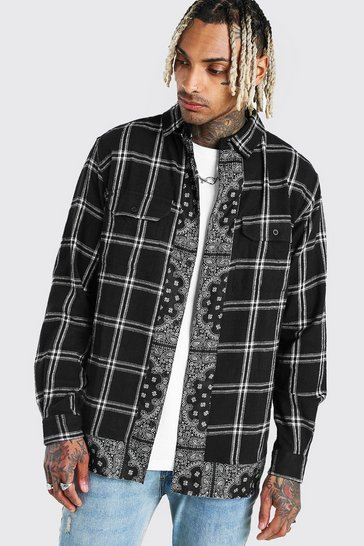 Black Long Sleeve Check Shirt With Bandana Panel