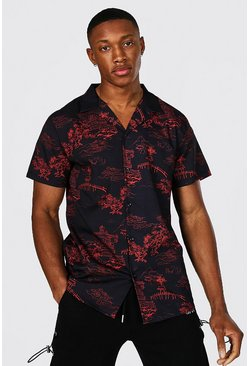 Black Short Sleeve Revere Collar Floral Shirt