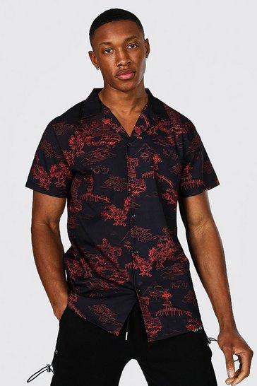 Black Short Sleeve Revere Collar Floral Shirt