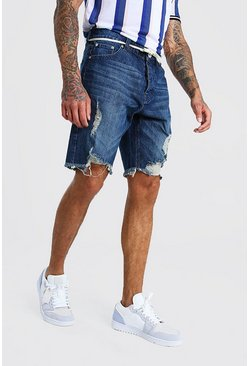 Loose Distressed Denim Short With Shoelace Belt, Indigo azul