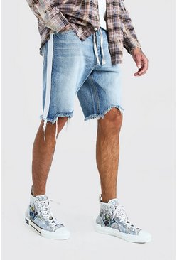 Ice blue Loose Fit Frayed Hem Denim Shorts With Belt