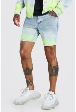 Light blue blue Slim Fit Ombre Spray Paint Denim Short