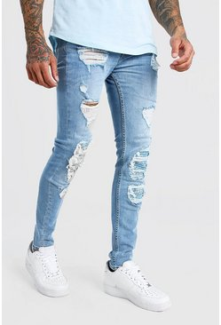 Ice blue Super Skinny Bandana Biker Rip and Repair Jeans