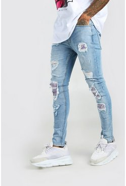 Ice blue Super Skinny Bandana Biker Rip & Repair Jeans