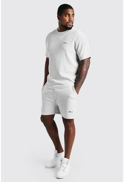 Plus Size MAN Script T-Shirt Short Set, Light grey gris