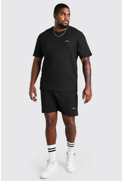 Black Plus Size MAN Script T-Shirt Short Set