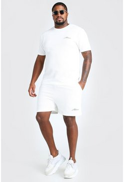 White Plus Size MAN Script T-Shirt And Short Set