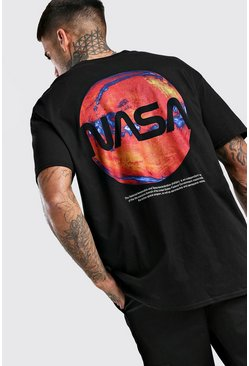 Oversized NASA Back Print License T-Shirt, Black negro