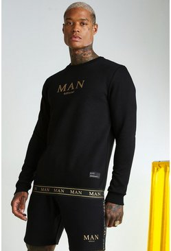 Black svart MAN Gold Sweatshirt With Tape