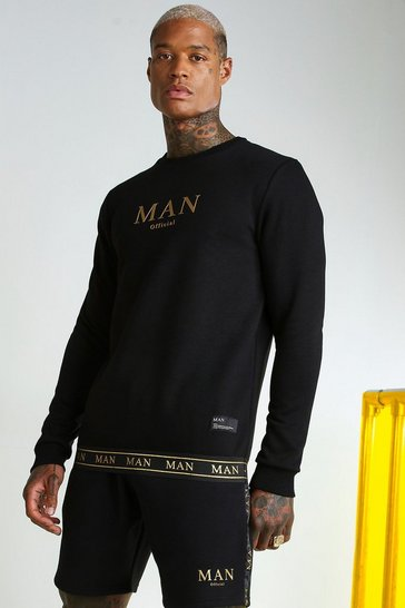 Black MAN Gold Sweatshirt With Tape