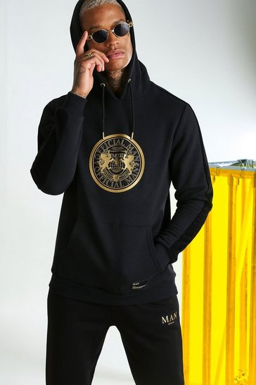 Black MAN Gold Hoodie With 3D Foil Print