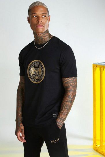 Black MAN Gold T-Shirt With Chest Print