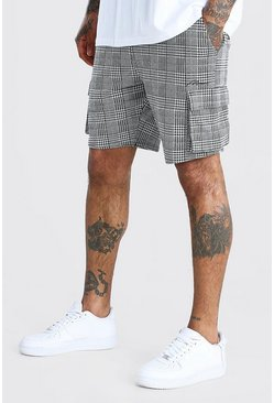 MAN Check Jacquard Cargo Mid Length Shorts, Black negro