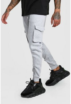 Grey marl Original MAN Printed Cargo Joggers With Zips
