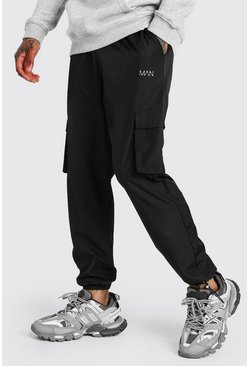Black MAN Shell Cargo Joggers With Bungee Cords