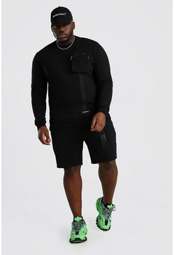 Black Plus Size MAN Official Short Tracksuit