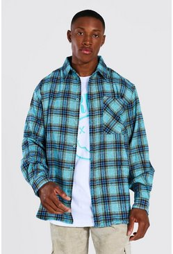 Oversized Check Shirt, Teal grün