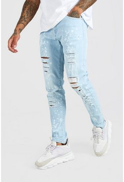 Ice blue Skinny Ripped Jeans With Bleach Effect
