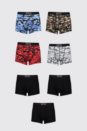 Multi 7 Pack MAN Dash Mixed Camo Mid Length Trunk