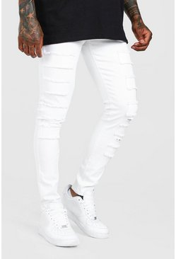 White Super Skinny Distressed Patch Jean
