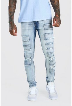 Ice blue Super Skinny Distressed Patch Jean