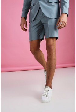 Blue Skinny Plain Tailored Suit Shorts