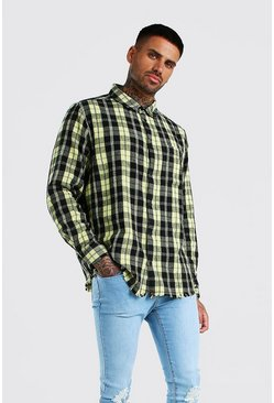 Yellow Long Sleeve Laundered Check Shirt