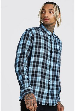Blue Long Sleeve Laundered Check Shirt