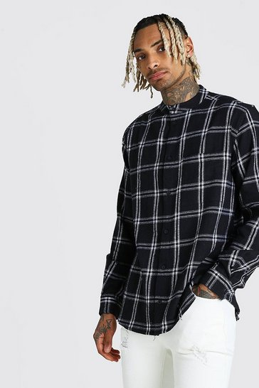Black Long Sleeve Flannel Check Shirt