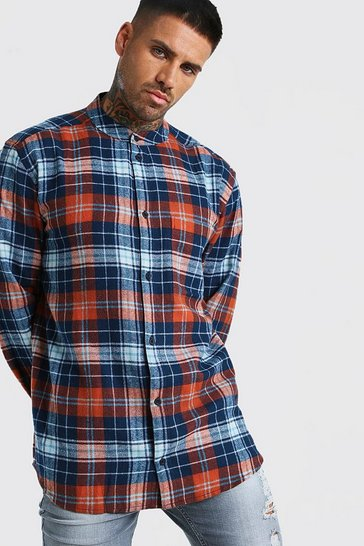 Rust orange Long Sleeve Flannel Check Shirt