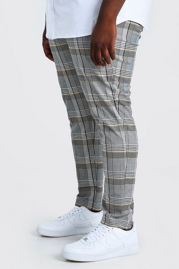 Grey Plus Size Skinny Fit Contrast Check Trouser