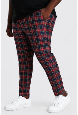 Red Plus Size Skinny Cropped Chain Tartan Trouser