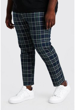 Green Plus Size Slim Cropped Chain Tartan Trouser