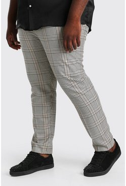 Brown Plus Size Skinny Dogtooth Pants With Chain