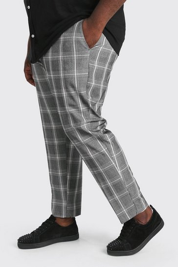 Grey Plus Size Slim Cropped Check Chain Trouser