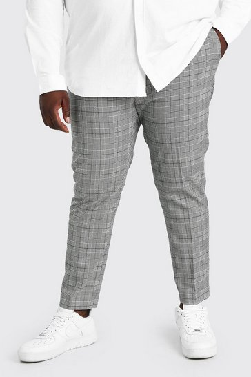 Ecru white Plus Size Skinny Cropped Tonal Check Trouser