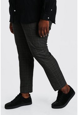 Charcoal grey Plus Size Tonal Check Skinny Cropped Trouser