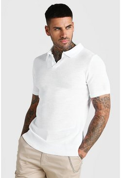 White Short Sleeve Muscle Fit Textured Notch Neck Polo