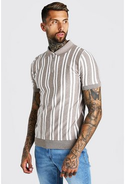 Taupe beige Vertical Stripe Knitted Polo With Zip