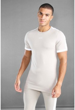 Stone beige MAN Active Longline T-Shirt With Panels