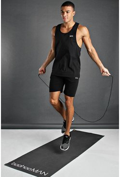 Black svart MAN Active Set med linne och shorts