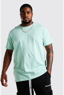Mint green Big And Tall Longline Basic T-Shirt